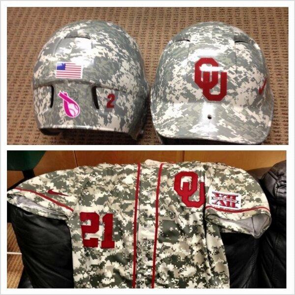 OUs Camo Baseball Uniforms And Helmet